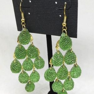 Chandelier Earrings Green Drop/Dangle Pierced 1276
